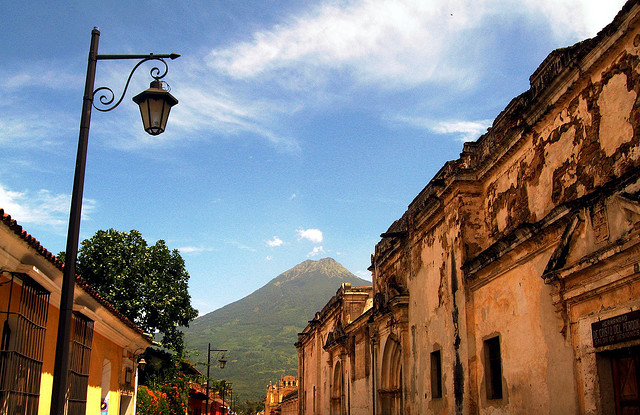 A volcano at the end of the street, Antigua, Guatemala.