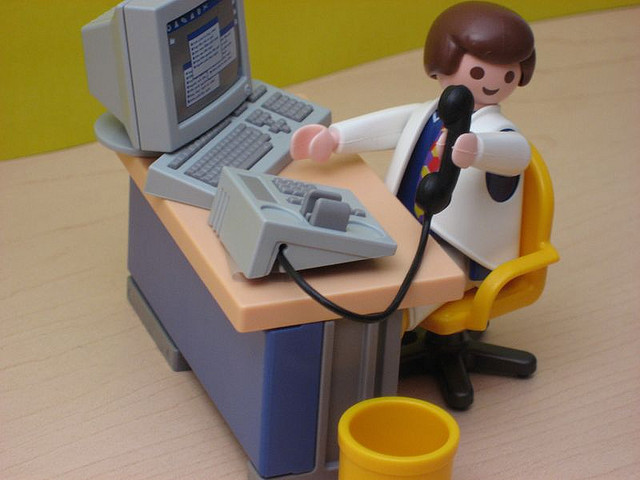 Playmobil Man - Desk and Phone