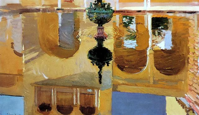 Joaquín Sorolla (Valencia, 1863 - Cercedilla, 1923) Reflejos en el estanque de Mercurio del Alcázar de Sevilla (1908)