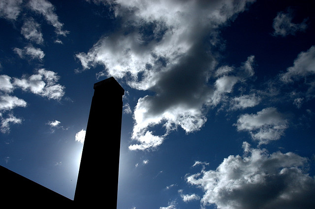 Tate Modern strikes a pose against the autumn sky.