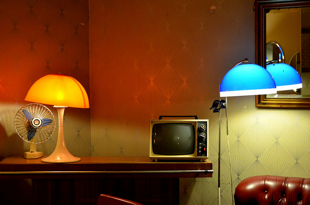 TV, lamps and fan