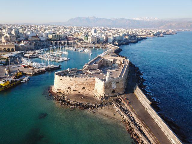 Aerial view of Heraklion, capital of Crete island