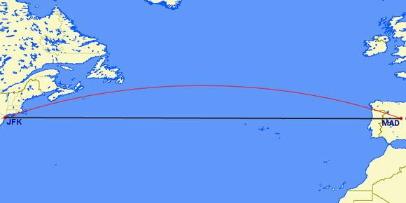 Desvío (línea roja) del avión debido al Efecto Coriolis