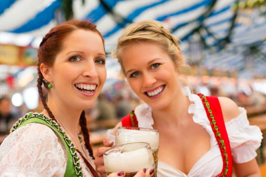 Women with traditional Bavarian clothes or dirndl in beer tent