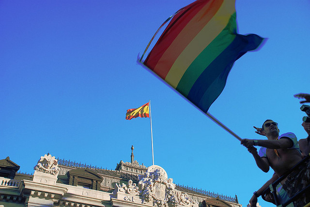 Gay flag in Madrid Spain Mike Slichenmyer