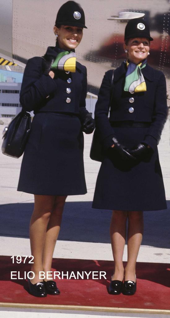 IB pic vintage flight attendant uniforms Elio Berhanyer 1972