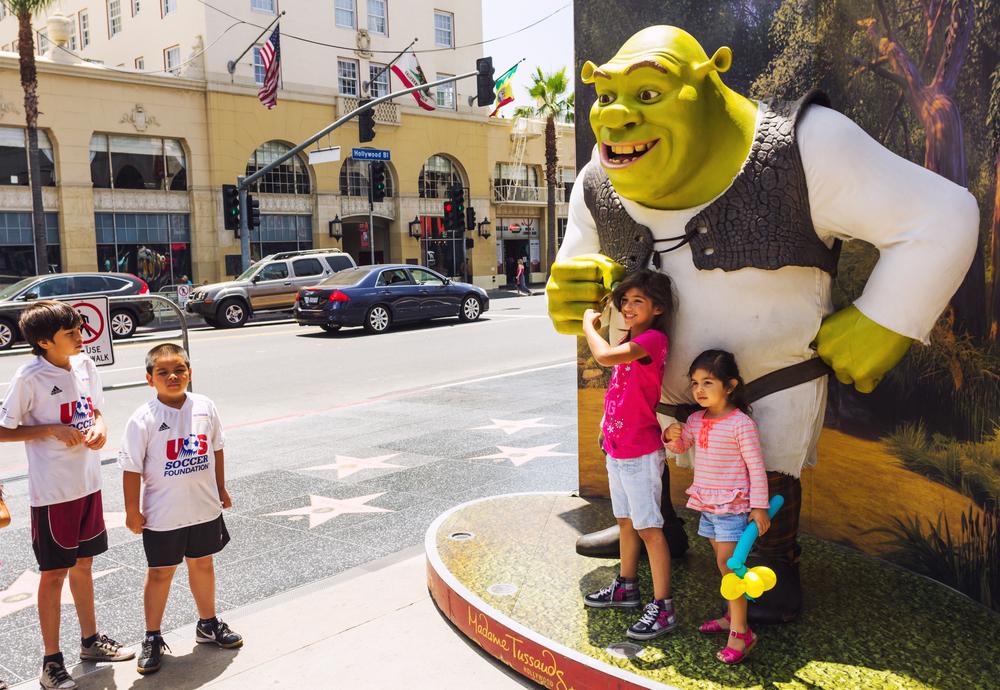 kids with Shrek on Hollywood Boulevard, Los Angeles, California USA - Razvan Bucur shutterstock_178679735