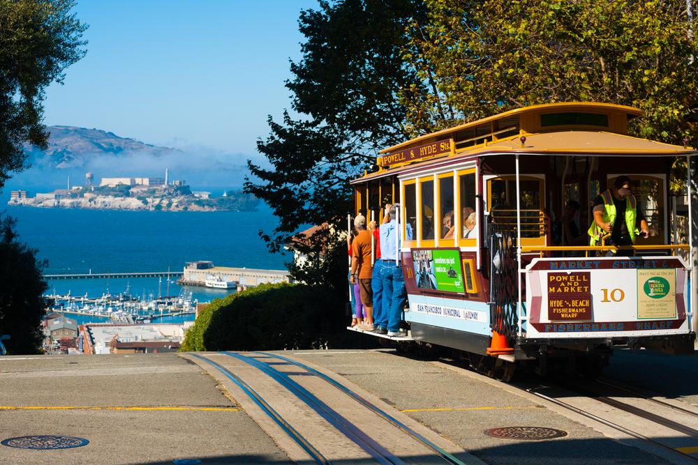 San Francisco, California cable car & Alcatraz - Pius Lee shutterstock_109236104