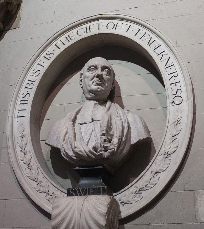 Ireland literary Dublin - Jonathan Swift bust, St. Patrick's Cathedral - Andreas F. Borchert Wikipedia