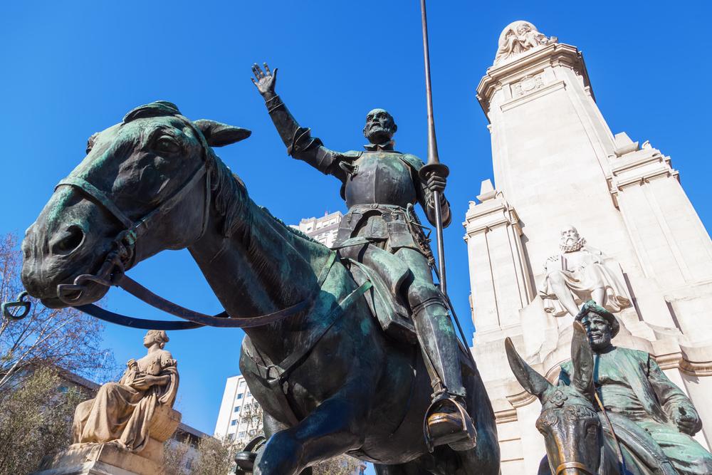 Spain literature Cervantes Don QUixote statue Madrid Christian Mueller shutterstock_267579770