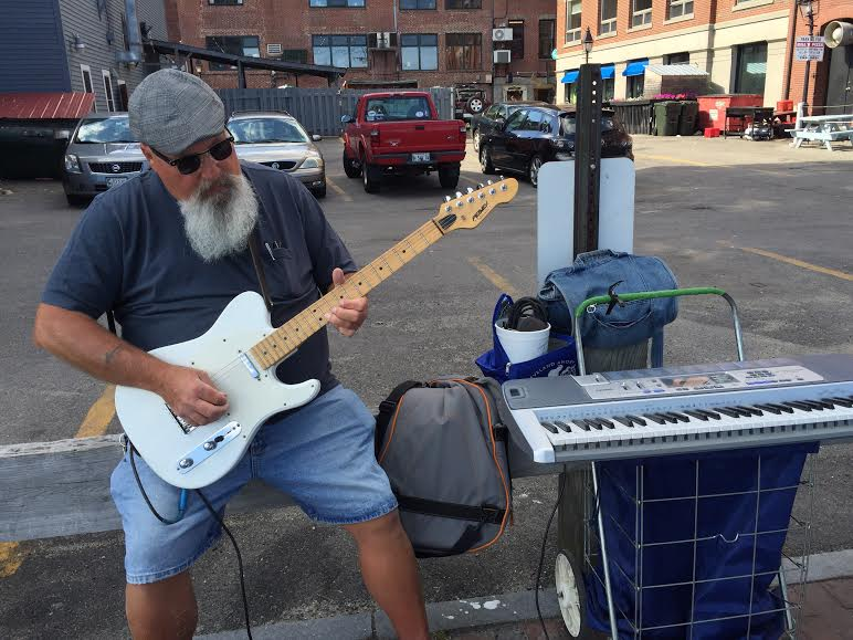 USA Maine New England Portland Old Port performer David Paul Appell
