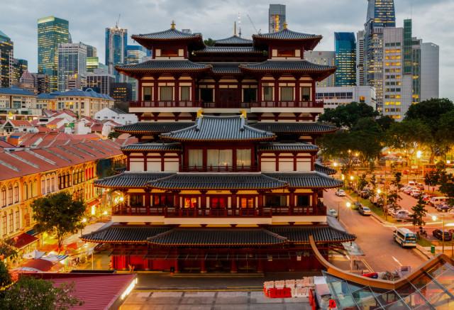 senior boomer travel Singapore Chinatown Buddha Tooth Temple shutterstock_120015076
