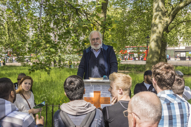 Britain England London parks Hyde Park Speakers Corner Kiev.Victor shutterstock_142049512