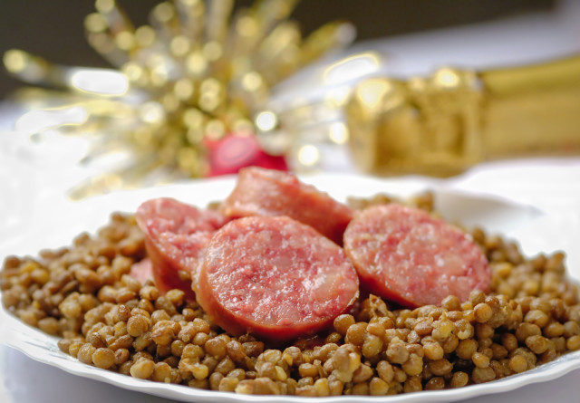 New Year Italy lentils cotechino Marzia Giacobbe shutterstock_208581928