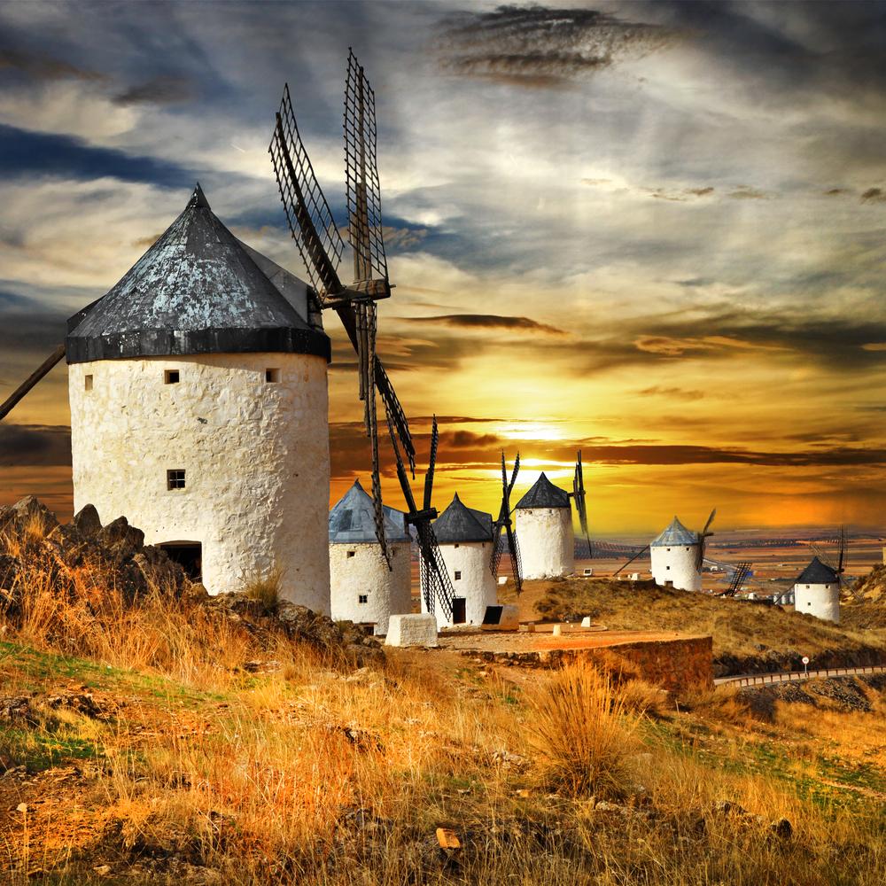 Spain La Mancha Consuegra windmills leoks shutterstock_172576598