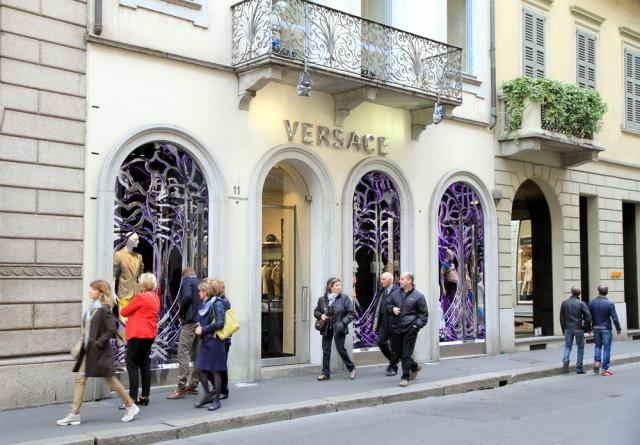Europe shopping Italy Milan Via Montenapoleone Versace ValeStock shutterstock_215071819