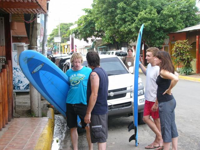 Nicaragua San Juan del Sur surfers on street 6 8-10