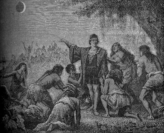 Christopher Columbus lunar eclipse Astronomie Populaire 1879 Camille Flammarion Wikipedia