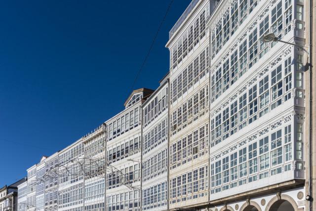 Spain Galicia A Coruña glazed window balconie Anibal Trejo shutterstock_170235533