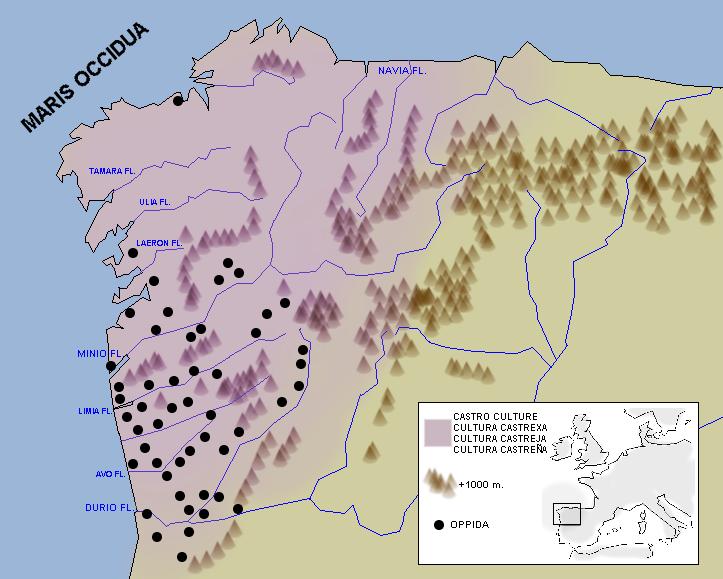 Spain Celtic castro culture map Froaringus Wikipedia