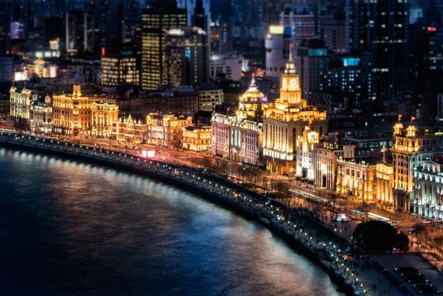China Shanghai Bund night Yang Wei Chen shutterstock_380651038