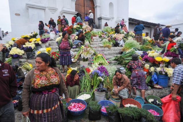 Guatemala Chichicastenango Santo Tomas Church steps Stefano Ember shutterstock_184871618