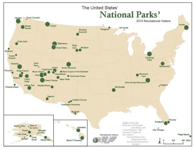 United States national parks map Mwierschkec Wikipedia