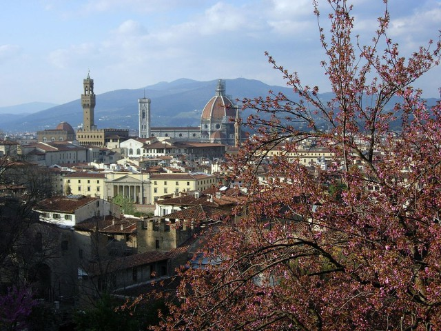 Italy Florence view from Bardini Palazzo Gardens Samulili