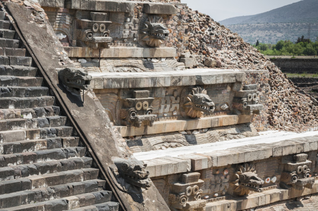 Mexico Teotihuacan Temple Feathered Serpent detail Noradoa shutterstock_240775744