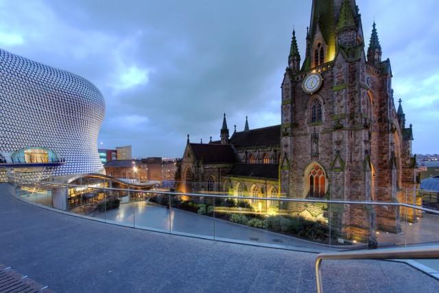 UK Birmingham downtown church & modern building Mihai-Bogdan Lazar shutterstock_148665443