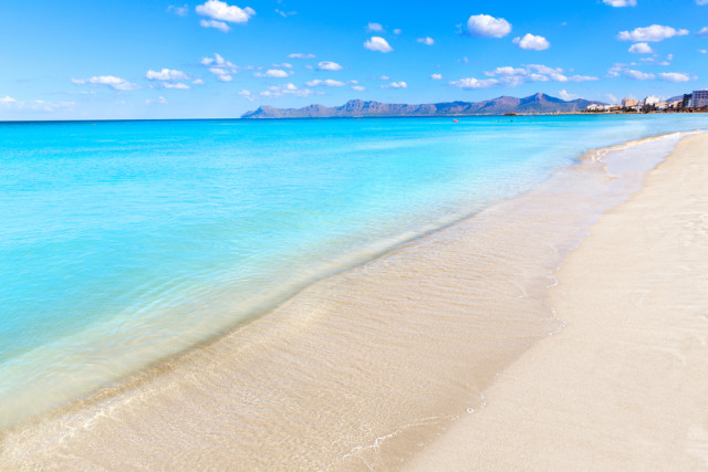 Spain Balearic Islands Majorca Alcudia Can Picafort Beach holbox shutterstock_260220194
