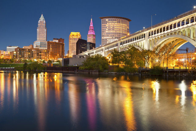 USA Ohio Cleveland downtown blue hour twighlight Rudy Balasko shutterstock_115485760