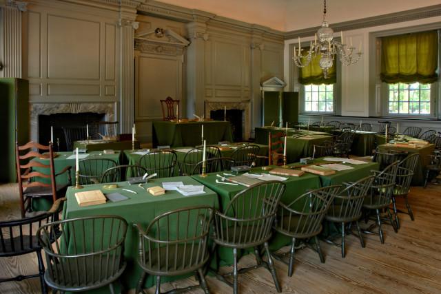 USA Revolutionary sites Pennsylvania Philadelphia Independence Hall interior Olivier Le Queinec shutterstock_31167868