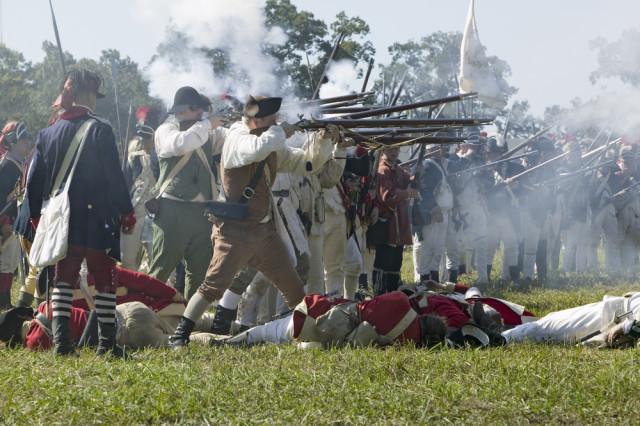 USA Revolutionary sites Yorktown re-enactment firing Joseph Sohm shutterstock_176557394