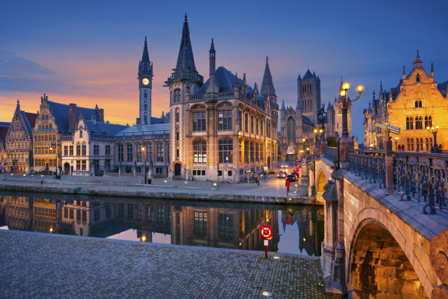 Belgium Ghent Graslei blue hour Rudy Balasko shutterstock_282874625