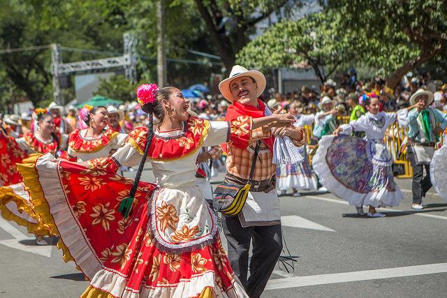 Colombia Medellin silleteros parade dancers