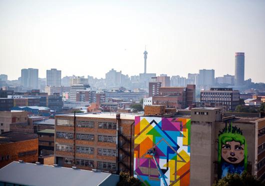 L2F South Africa Johannesburg City of Gold Festival mural-skyline