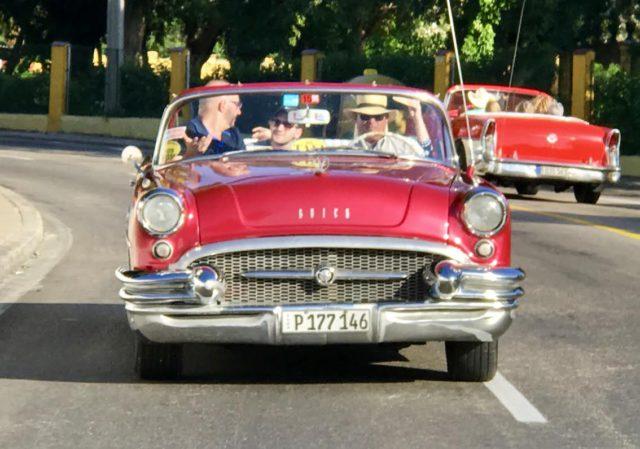 L2F Jan 17 pic Cuba Havana classic cars JAB red Buick convertible underway