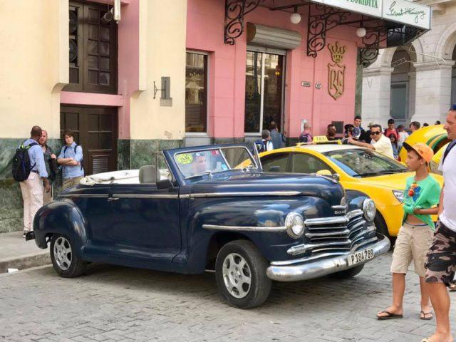 L2F Jan 17 pic Cuba Havana classic cars blue convertible Floridita