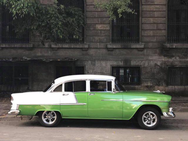 L2F Jan 17 pic Cuba Havana classic cars green and white car