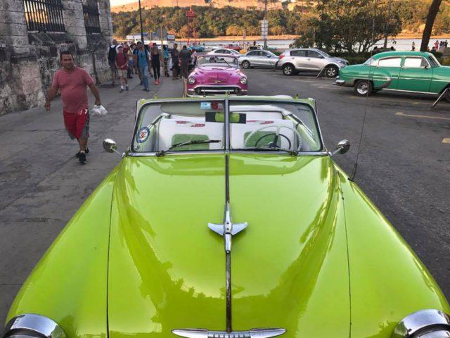 L2F Jan 17 pic Cuba Havana classic cars green taxi Plaza de Armas