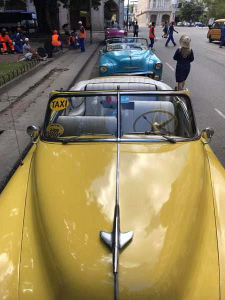 L2F Jan 17 pic Cuba Havana classic cars yellow-blue taxis near Parque Central