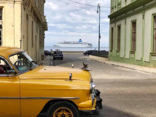 L2F Jan 17 pic Cuba Havana classic cars yellow car with cruise ship