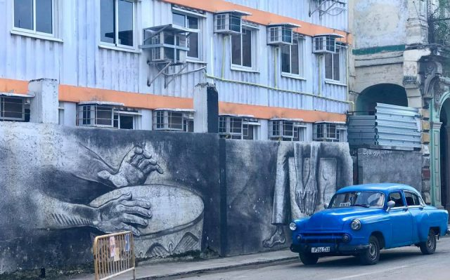 L2F Mar 17 pic Cuba Havana street art Paseo del Prado with old blue car