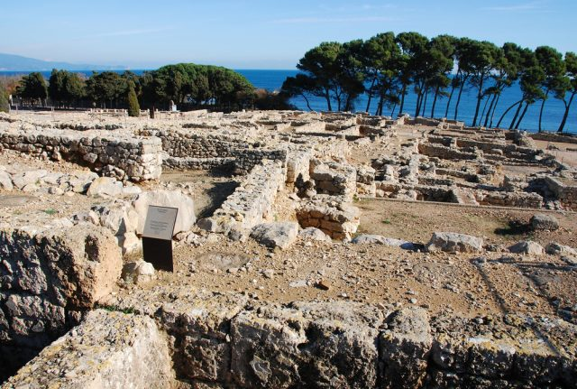 L2F Mar 17 pic Spain Catalonia Girona Empuries ruins with trees sea shutterstock_8673715