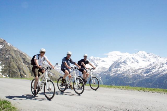 L2F May 17 pic Europe Alps mountain biking Switzerland Verbier 3 cyclists