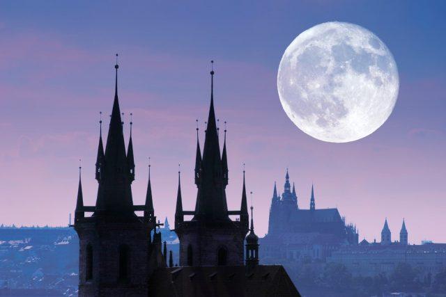 L2F Oct 17 pic Czech Prague haunted Halloween skyling with moon shutterstock_9759547