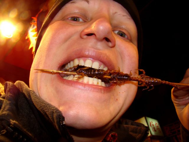 L2F Apr 18 pic China Beijing Wangfujing snack street eating scorpion Flickr istolethetv