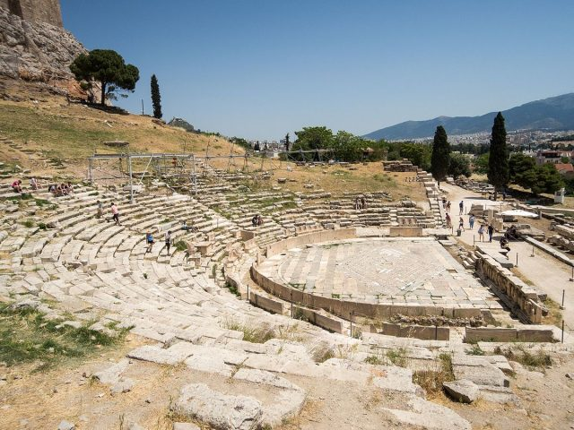 L2F Apr 18 pic Europe Greece Athens Acropolis Theatre of Dionysius dronpicr Wikipedia