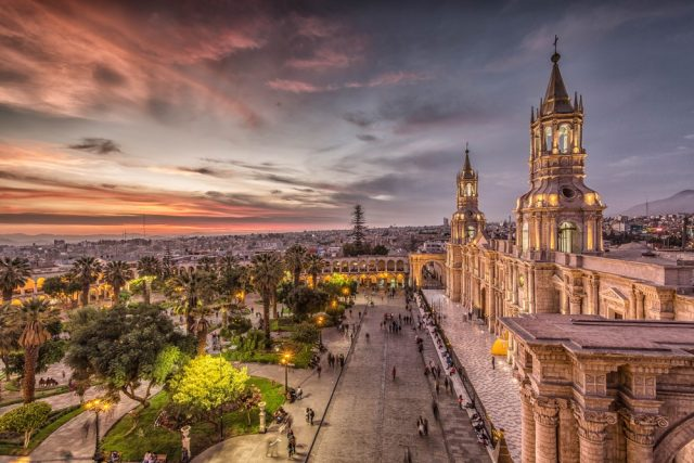 L2F May 18 pic Peru Arequipa Plaza de Armas cathedral shutterstock_526405306
